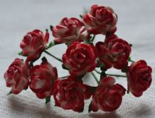 1 cm RED OFF WHITE Mulberry Paper Roses